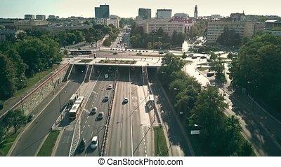 Aerial view of Lecha Kaczynskiego street in Warsaw, Poland -...