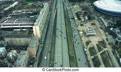 Aerial view of Leningradsky Prospekt avenue, Dinamo metro...