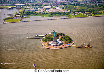 Aerial view of Liberty Island, New York City.