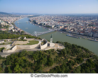 Aerial view of Liberty statue at Gellert hill in Budapest....