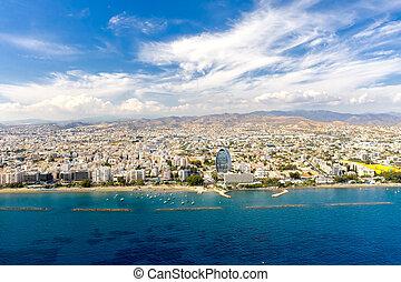 Aerial view of Limassol coastline, Cyprus.