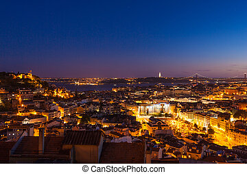 Aerial view of Lisbon rooftop from Senhora do Monte ...
