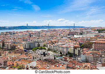 Aerial view of Lisbon rooftop from Senhora do Monte viewpoint (Miradouro)  in Portugal