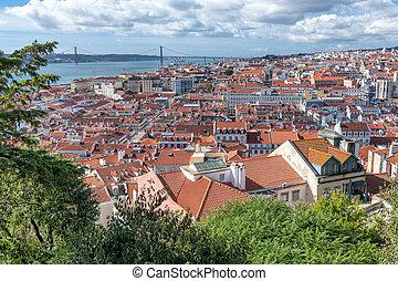 Aerial view of Lisbon skyline on a sunny day, Portugal