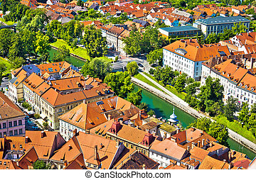 Aerial view of Ljubljana green river