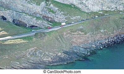 Aerial view of Llandudno close to the pier in Wales - United...