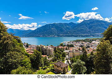 Aerial view of Locarno city and Mggiore lake on a sunny summer day, canton of Ticino, Switzerland.