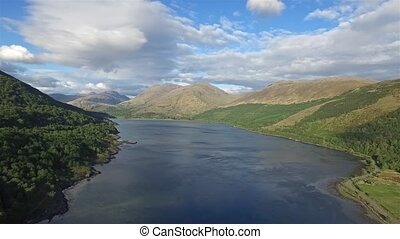 Aerial view of Loch Creran by the Loch Creran bridge