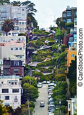 SAN FRANCISCO - MAY 18 2015:Aerial view of Lombard Street in San Francisco. Lombard Street known for the one-way block on Russian Hill where 8 sharp turns make it the most crooked street in the world.