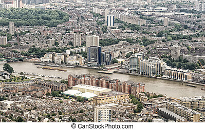 Aerial view of London along river Thames