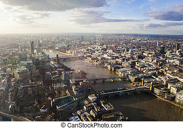aerial view of London city skyline, panorama