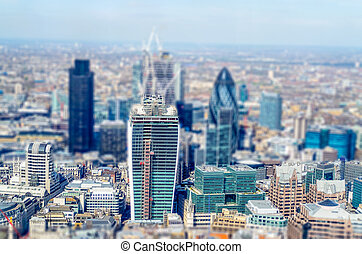 Aerial view of London City Skyline. Tilt-shift effect applied