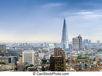 Aerial view of London modern skyline