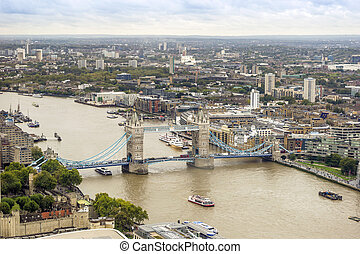 Aerial view of London with London Bridge upon Thames river, UK