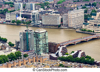 Aerial view of London with river Thames