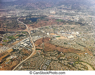 Aerial view of Los Angeles city, USA.