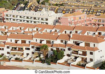 Aerial view of Los Cristianos, Tenerife Spain