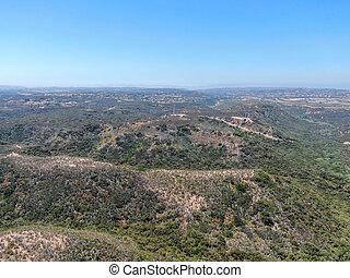 Aerial view of Los Penasquitos Canyon Preserve during summer season.