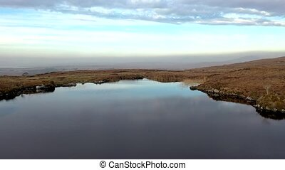 Aerial view of Lough Doo not far from the Gweebarra River between Doochary and Lettermacaward in Donegal - Ireland.