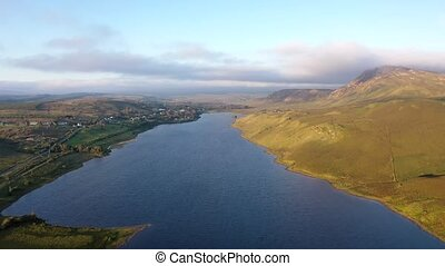 Aerial view of Lough Finn Lake near Finntown in Co Donegal.