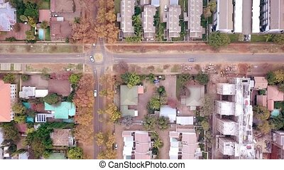 Aerial view of low car traffic in Pretoria, South Africa - ...