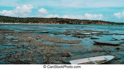 Aerial view of low tide on the beach of Nusa Lembongan...