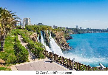 Aerial view of Lower Duden waterfall in Antalya, Turkey....