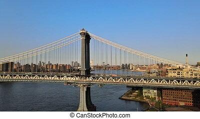 22 SEPTEMBER 2020 NEW YORK NY USA: Aerial view of Lower Manhattan, New York City over Manhattan Bridge