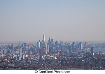 Aerial view of Lower Manhattan skyline , New York