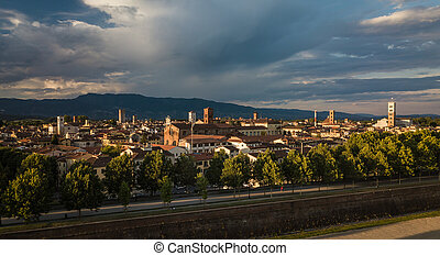 Aerial view of Lucca, Tuscany, Italy