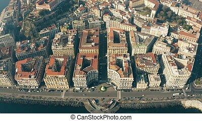 Aerial view of Lungomare Santa Lucia Napoli. Naples, Italy...