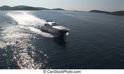 Aerial view of luxury boat sailing