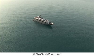 Aerial view of luxury yacht