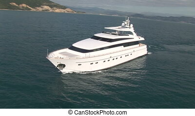 Aerial view of luxury yacht close to the Italian coast