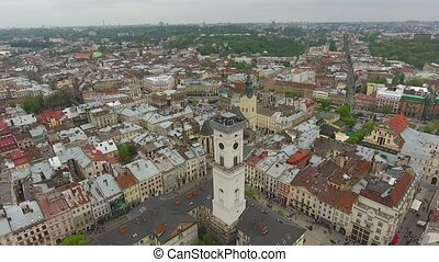 Aerial View of Lviv City - Day aerial shot of central part...