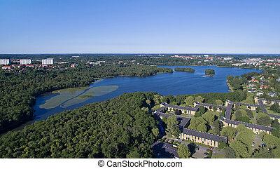 Aerial view of Lyngby lake, Denmark