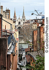 Aerial view of Lyon, France - Old Buildings of City Center ...
