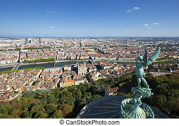 Lyon from the top of Notre Dame de Fourviere - Aerial view ...