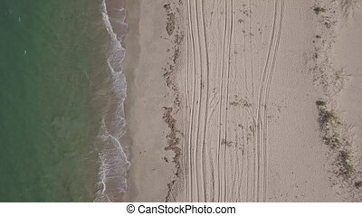 Aerial view of Macaneta Beach between Indian Ocean and Incomati River, Maputo Province, Mozambique. Shot in 4k with D-Cinelike profile for further correction.