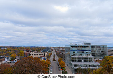 Aerial View of Madison along Washington Avenue - Aerial view...
