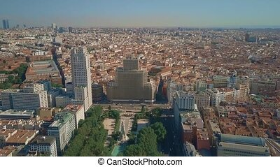 Aerial view of Madrid cityscape from Plaza de Espana square...