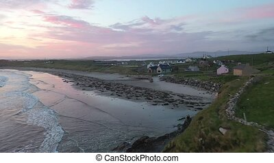 Aerial view of Maghery beach with Aran Island in the background - County Donegal, Ireland