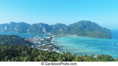 Aerial view of main Pier Ton Sai on Phi Phi Island during...