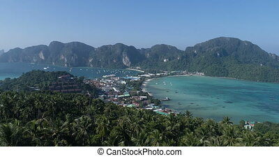 Aerial view of main Pier Ton Sai  on Phi Phi Island during sunny summer day