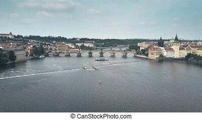 Aerial view of major landmark in Prague - the Charles Bridge across the Vltava river, the Czech Republic