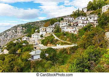 Aerial view of Makrinitsa village in Pelion, Greece - Aerial...