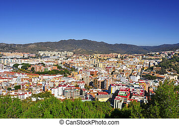 aerial view of Malaga city, in Spain