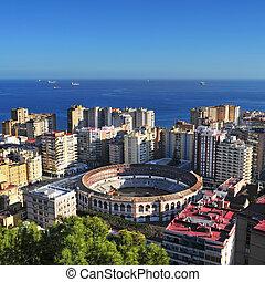 Malagueta Bullring in Malaga, Spain - aerial view of...