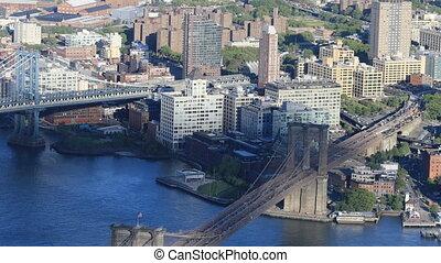 Aerial view of Manhattan and Brooklyn Bridges