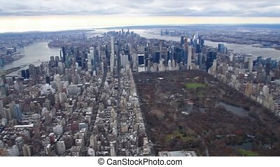 Aerial view of Manhattan from helicopter, New York City Slow motion